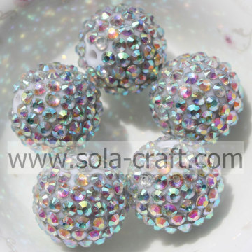 Silver AB New Design Chunky Resin Rhinestone Beads for Jewelry Making 20*22MM