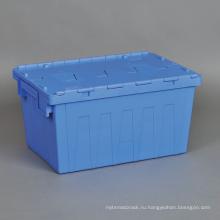Оптовая Пластиковые раскроя логистические ящики, прикрепленные крышки Пластиковые движущиеся контейнеры для хранения
