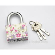 Flower painted Electroplating Small Cute square type vane key pattern printing Iron Padlock