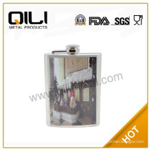 water transfer stainless steel hip flask with tiger pattern