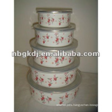 enamel mixing storage bowl with PP lid