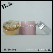 BEST-3745/pet jar/straight round shape acrylic jar,pmma,abs,as,15,30,50ml cream cosmetic jars with diamond shinning cap