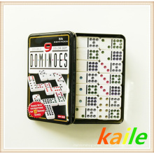Double 9 colorful paint plastic domino with tin box