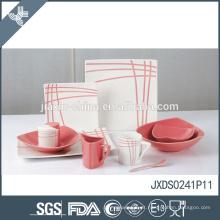 41pcs porcelana atacado resistente ao calor bonito rosa e cerâmica de louça de cerâmica