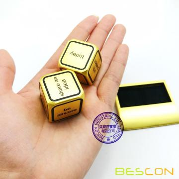 Bescon promotionnel Motivational Solid Metal Dice Set, 2 pcs Motivation Desktop Metal Dice Set un pouce D6 Matt Golden