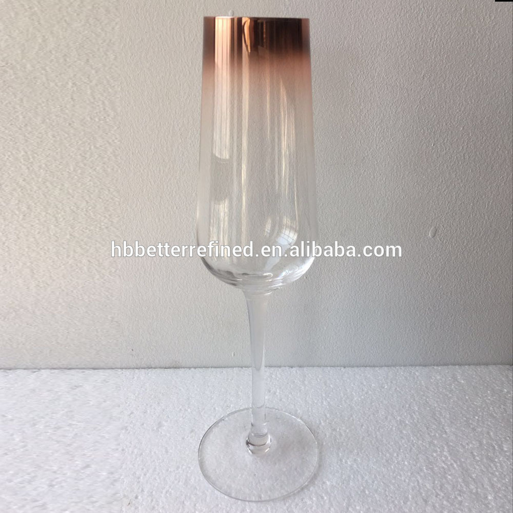 Br 8266hand Blown Ombre Copper Champagne Glasses