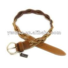 Wide trançado e corrente de couro cinto para mulher