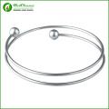 Fashion Women Cuff Jewelry Opening Bead Silver 316l Stainless Steel Bracelet Bangles