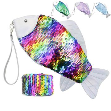 GLITTER SEQUIN FISH PENCIL CASE-0