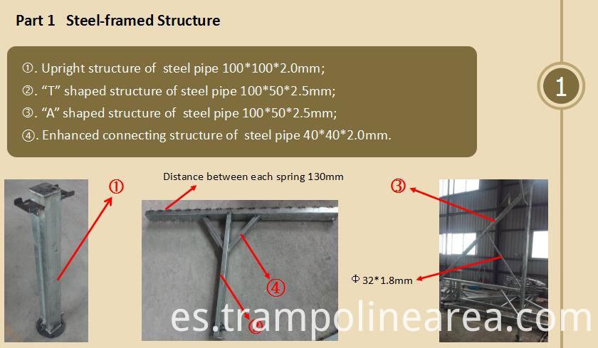 steel parts of professional Trampoline for Sale