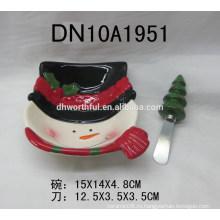 Рождественская посуда керамическая чаша и масло ножом