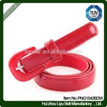 Senhoras genuínas Red Leather Skinny Belts