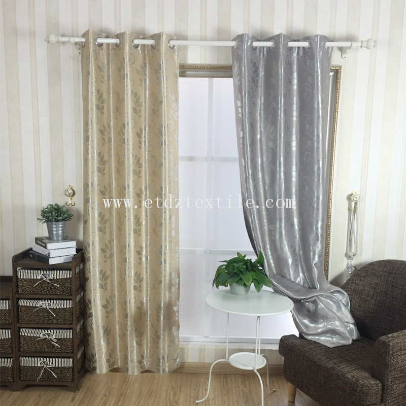 JACQUARD GREY LEAF CURTAIN BLACKOUT