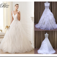 A Line Organza Lace Crystal Beading Hot Sale Wedding Dress