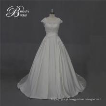 Excelente qualidade cetim vestido de noiva com laço