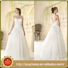 VIL-08 Off the Shoulder Strapless Appliques Tiered Ruffles Low Button Back Ball Gown Wedding Dresses