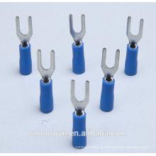 Terminais isolados da pá, conectores da forquilha com luva da isolação PVC
