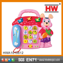 Hot Sale Russian Version Plastic Kids Toy Telephone With Music Light
