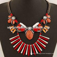 Fashion gem handmade big stone necklace