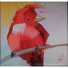 Pintura roja de la lona del pájaro