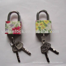 Color painted square iron padlock