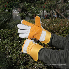 NMSAFETY cotton back double palm cow split leather industrial work gloves