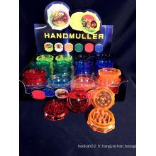 Broyeur à graines en plastique 7color Mix Order Disponible 50mm / 60mm 2parts Grinder à fumer