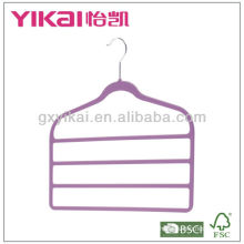 Rubber lacquer ABS space-saving hanger with 4 tieers of trousers bar