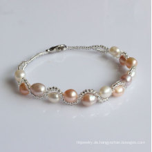 Billig Süßwasser kultiviert Perle Armband (EB1525-1)
