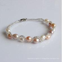 Bracelet à perles cultivées en eau douce et bon marché (EB1525-1)