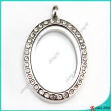 Pingente de medalhão oval de cristal para atacado