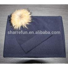 Marine Farbe plain Kaschmir Mütze Hut & Schal mit Waschbär Fell Pom Pom