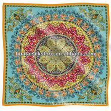 blue UK royal paisley 100% silk scarf brand 90x90cm