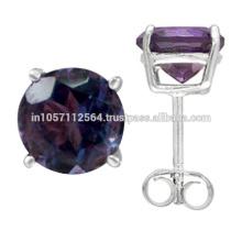 Beautiful Purple Amethyst Gemstone & 925 Sterling Silver Stud Earrings Wedding Wear Jewelry