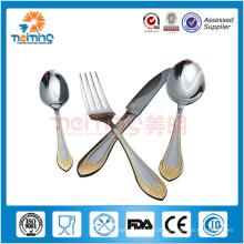 4 pcs melhor venda de produtos de aço inoxidável talheres, conjunto de talheres, faca, sopa e colher de chá e garfo