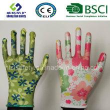 Safety Gloves Nitrile Coated Printed Garden Gloves