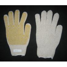 Gestrickter gelber PVC-einzelner punktierter Handschuh der Schnur-7g