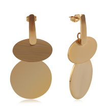 Fashion Earrings Trend 2020 Ladies Jeweries Stainless Steel Large Gold Coin Earrings