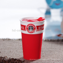 Reise-Öko-Becher Kaffeetasse mit Plastikdeckel, Keramikbecher mit Silikonverpackung, Tasse Starbucks