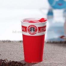 Travel eco mug tasse à café avec couvercle en plastique, tasse en céramique avec enveloppement en silicone, coupe Starbucks