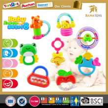Shantou Chenghai ICTI baby toy hanging bell plastic rings baby rattle