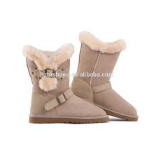 Удобная леди Зимняя обувь Плоская пряжка Степ Работающие сапоги