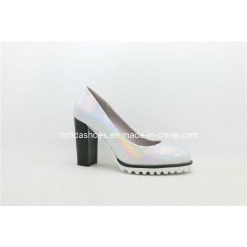 Comfort Chunky High Heels Lady Shoe pour femme de bureau