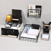 Wholesale Custom Wire Metal Mesh Office Calendar Table Desk Organizer Multi Storage Box Pen Holder Set