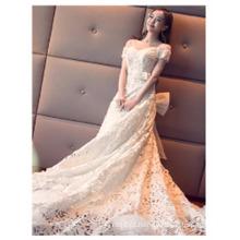 2017 China designer Custom Made Handmade Beaded Off-ombro Long Train Vestido de casamento vestidos
