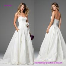 Trägerloses A-Line Brautkleid mit Schleife