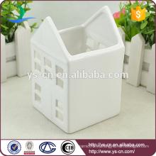 Venta al por mayor de cerámica blanca casas candelero