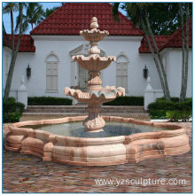 Sunset Red Marble 3 Tiered Marble Fountain