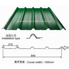 Folha de aço ondulada galvanizada revestida cor do telhado de PPGI