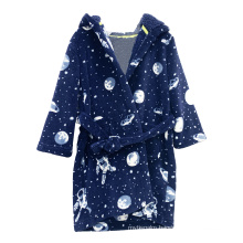Embroidery Craft Dark Color Series Fleece  Kids Boys Soft Robes With Belt